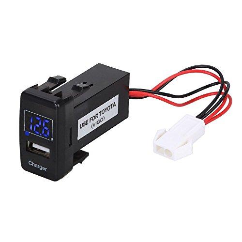 Foxpic Caricatore d'Auto Singola Porta USB con Display Digitale per Auto di Toyota Grande Blu