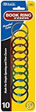 BAZIC 1quot Assorted Color Metal Book Rings 10Pack Box Pack of 24