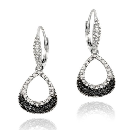 Sterling Silver Black Diamond Accent Open Teardrop Dangle Leverback Earrings