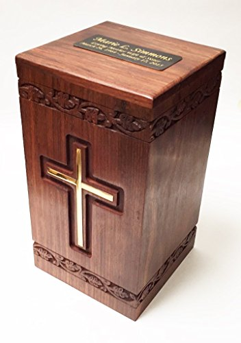 Wooden Adult Size Human Funeral Cremation Urn with solid brass cross and Engraved plaque (Urns Funeral compare prices)