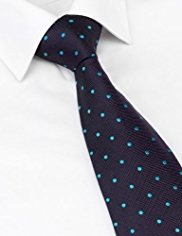 Savile Row Inspired Made in England Pure Silk Spotted Embroidered Textured Tie