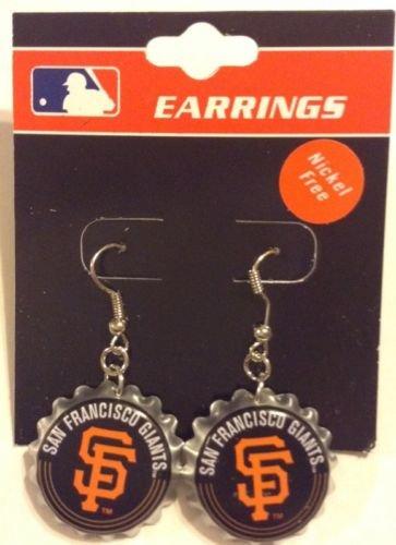 San Francisco Giants Bottle Cap Silver Dangle Earrings.
