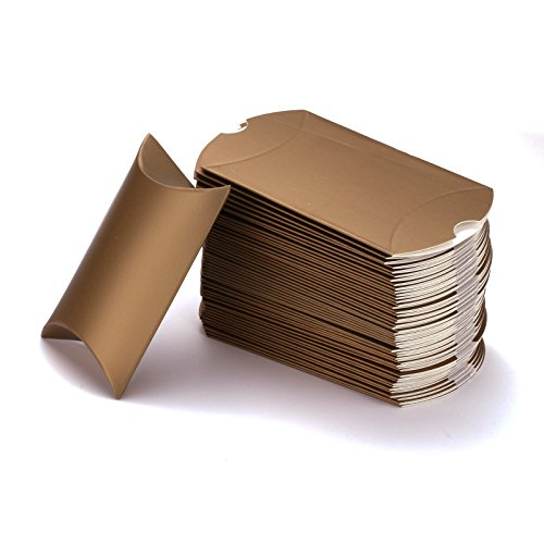 Vlovelife Gold Paper Pillow Favor Gift Box Wedding Party Favour Anti-Scratch Gift Candy Box Pack Of 100 (Pillow Boxes compare prices)