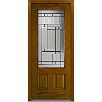 decorative glass 3 4 lite 2 panel prehung in swing entry door