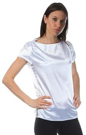 Nife Zarte Satin-Bluse, weiß, Größe 38
