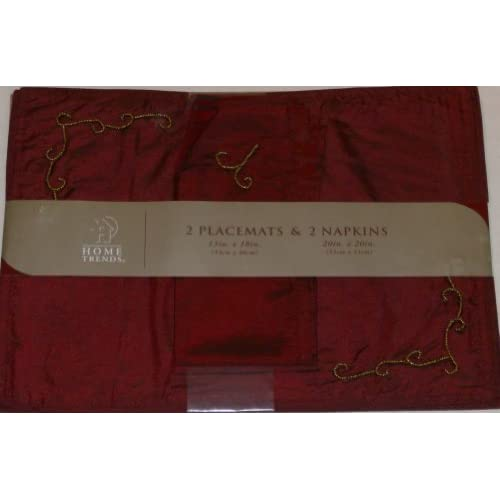 Amazon.com - Home Trends Beaded Burgundy Placemat Napkin