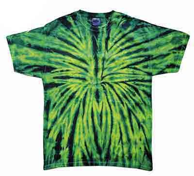 Tie Dye WILD SPIDER Retro Vintage Groovy Green Youth Kids Tee Shirt T-Shirt