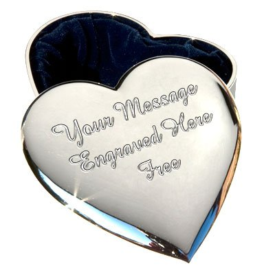 Personalised Silver Plated Trinket Jewellery Box ENGRAVED FREE