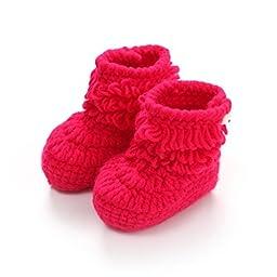 Mosunx (TM) Unisex Boy Girl Baby Newborn Infant Hand Knitting Crochet Beige Tassel Buckle Shoes Socks Boots (Hot Pink)