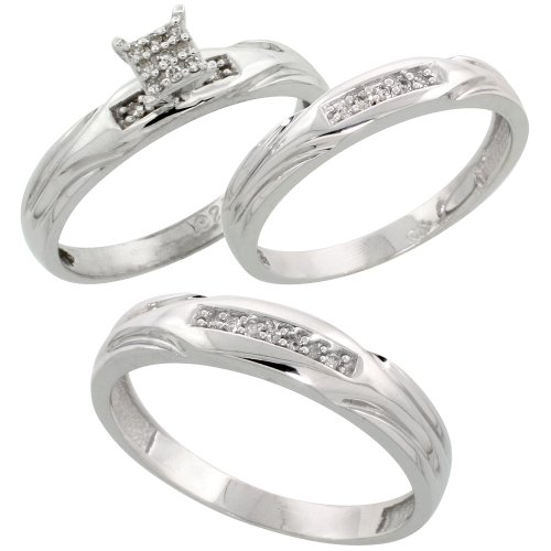 Sterling Silver Diamond Trio Engagement Wedding Ring Set for Him and Her 3-piece 4.5 mm & 3.5 mm wide 0.13 cttw Brilliant Cut, Ladies Size 8