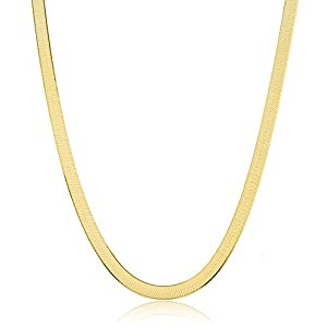 JOTW 925 Sterling Gold Plated 6mm 24 Inch Herringbone Chain Necklace