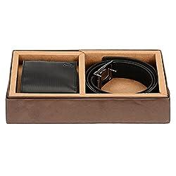 Osaiz Combo of Men's Belt and Wallet Black (572BL)