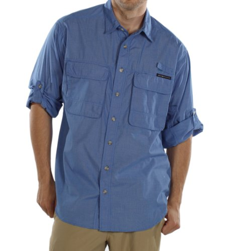 ExOfficio Men's Bugsaway Baja Long Sleeve Shirt,Cobalt,Large