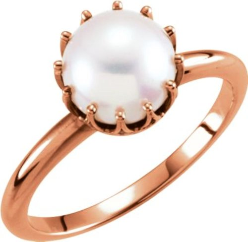 14K Rose 7.5-8Mm Freshwater Cultured Pearl Crown Ring In 14K Rose Gold - Size 7