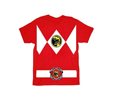 Power Rangers Red Ranger Costume Red T-Shirt Tee (Toddler X-Small, 3T)
