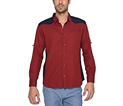 Copperstone Men's Casual Shirt (8903944573611_Red_X-Large)
