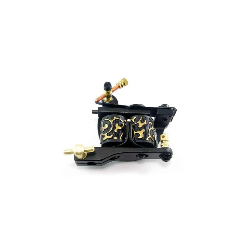 Cast Iron Dual coiled 10 Wrap Coil Tattoo Machine Shader   Black