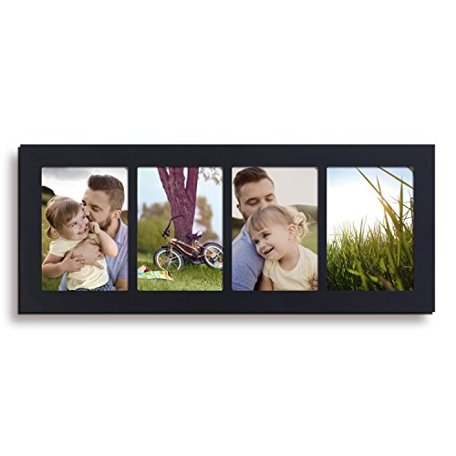 Adeco Decorative Black Color Wood Divided Wall Hanging Artwork Print Picture Photo Frame, 4 Opening 5x7