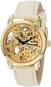 Akribos XXIV Women's AKR431YG Gold Swiss Automatic Skeleton Watch