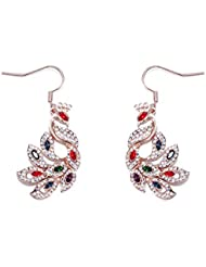 NEVI Peacock Animal Long Fashion Swarovski Elements Rose Gold Plated Danglers Earrings Jewellery For Women And...