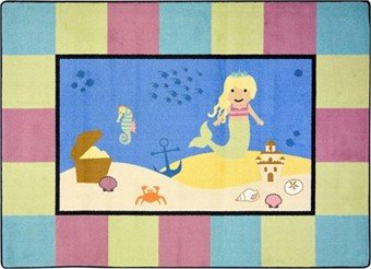 "Joy Carpets Kid Essentials Active Play & Juvenile Lil' Mermaid Rug, Multicolored, 3'10"" x 5'4"""