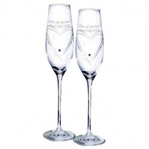 Swarovski Personalised Heart Champagne Flutes