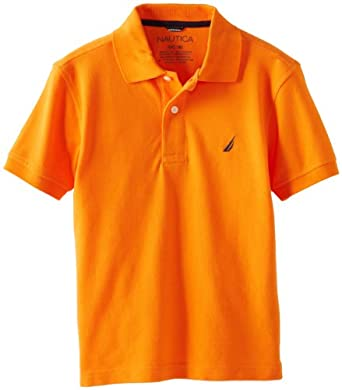 Nautica Big Boys' Solid Pique Polo, Orange, X-Large