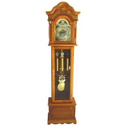 Edward Meyer Oak Grandfather Clock with Beveled Glass