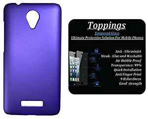 Toppings Hard Case Cover With Tempered Glass For Vivo Y28 - Purple