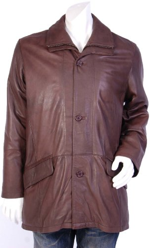 Mens Parka Style Leather Coat M40044 Brown Gents 3/4 Length Leather Jacket (S)
