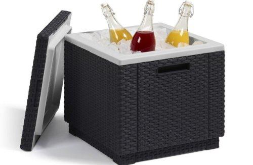 Allibert-212159-KhlboxBeistelltisch-Ice-Cube-Rattanoptik-Kunststoff-anthrazit