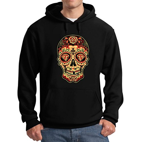 Teestars Men'S - Sugar Skull Diamond Hoodie Large Black