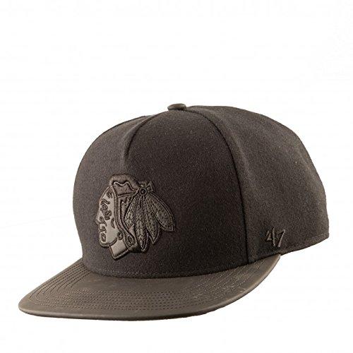 47-Brand-Herren-Snapback-Cap-Bleecker-Chicago-Blackhawks-schwarz-schwarz-Verstellbar