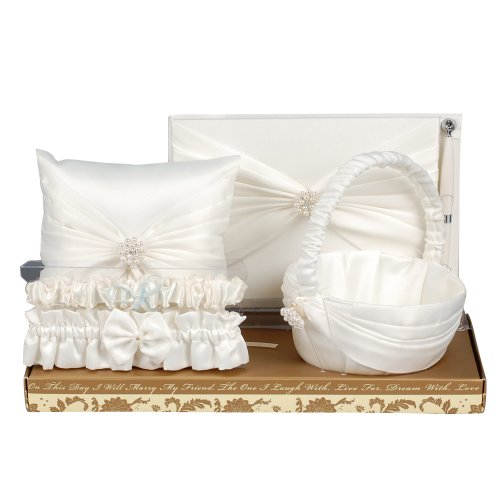 Beverly Clark Wedding Romance Collection Wedding Kit with Guest Book, Pen, Ring Pillow, Flower Girl Basket and Garter Set, Ivory