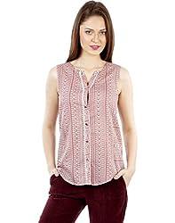 IRALZO Printed viscose sleeveless blouse