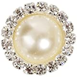 Outop 10 Pcs Crystal Pearl Button,metal Rhinestone Buttons