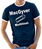 MacGyver - Multitool Contrast / Ringer T-Shirt Navy/White, L