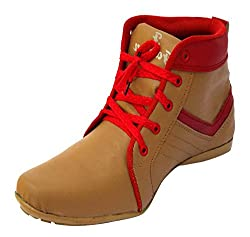 1 st look Mens Brown and Red PU High-Top Shoes_7 UK