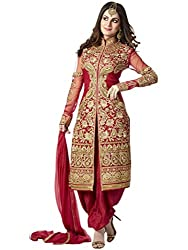Orange Fab Women's Red Heavy Embroidery Salwar Suit Dress Material
