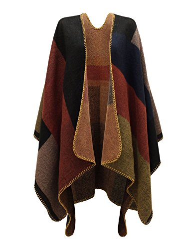 Envy Boutique Women's Checked Knitted Winter Tartan Cape Stylished Poncho Multi Colour One Size