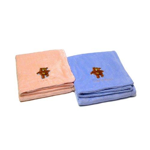 itty bittees Chamois Baby Blanket Bear Blue - 1