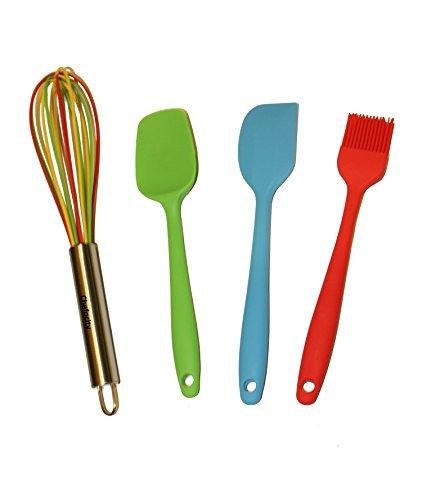 4 Piece Kitchen Utensil Set - Multi Color Silicone Whisk, Red Basting Brush, Green Small Scraper, Light Blue Small Spatula for non stick cookware. Durable Heat Resistant. Chefocity Kids