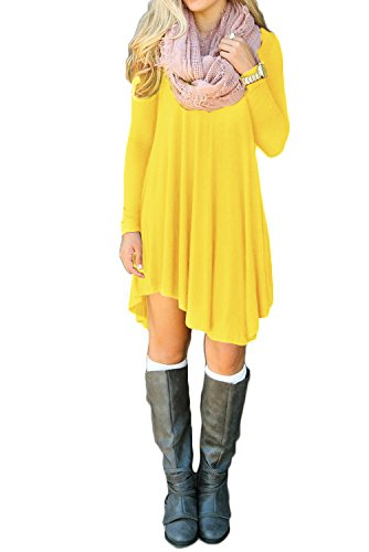 yellow-tunic-dress-velvet-high-low-t-shirt-black-with-sleeves-flowy-tshirt-fall-dresses-for-women-fl
