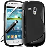 Samsung Galaxy S3 mini I8190 Black Wave Hydro S Line Gel Case Covers and Mini Stylus