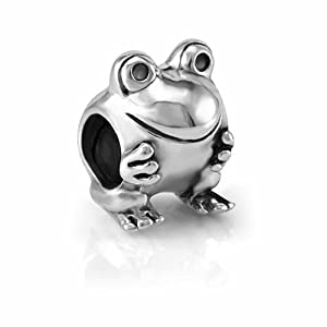 925 sterling silver smile frog bead charm fits
