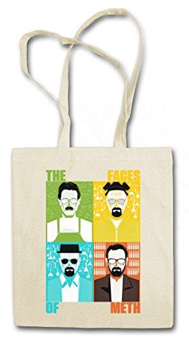 FACES OF METH Hipster Shopping Cotton Bag Borse riutilizzabili per la spesa - Breaking Walter Heisenberg White Crystal Cook Blue Bad