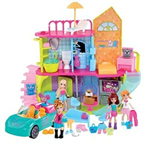 Polly Pocket Super / Super Delux Set Including House, Dolls ,Car And Over 50 Pieces