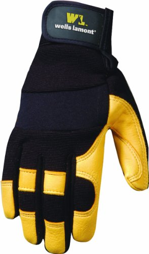 Wells Lamont 3210L Work Gloves with Grain Deerskin Palm, Spandex Back, Hook and Loop Wrist Closure, Large