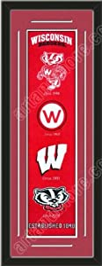 Heritage Banner Of Wisconsin Badgers With Team Color Double Matting-Framed Awesome... by Art and More, Davenport, IA
