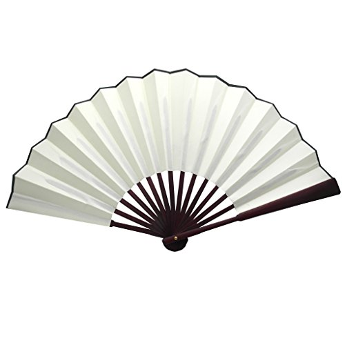 TrendBox Chinese Traditional Nylon-Cloth Handheld Folding Fan For Pratice Performance Dancing Ball Parties Unisex - Ivory